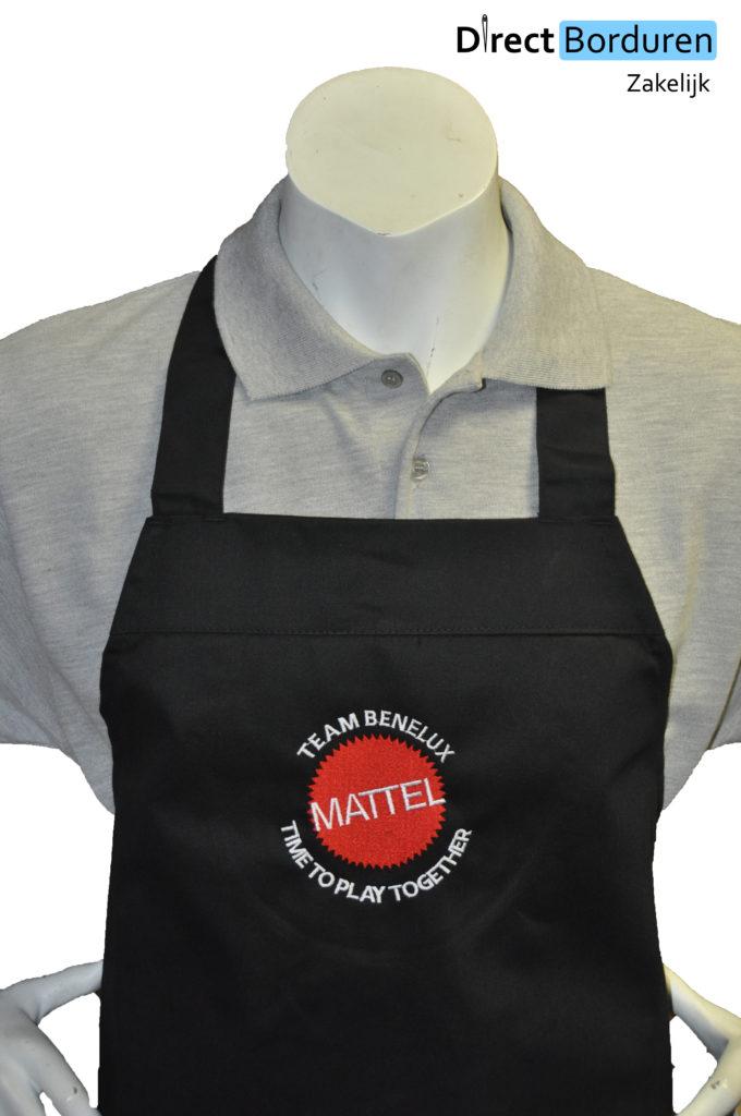 Zwart keukenschort met logo